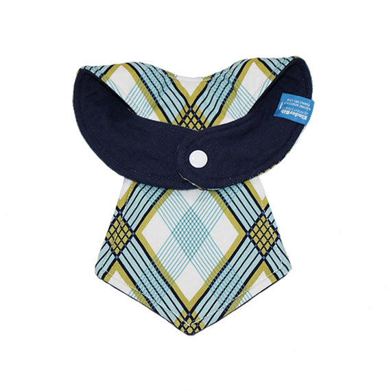 Kinderbib Baby Necktie Bib Blue Diamonds Back