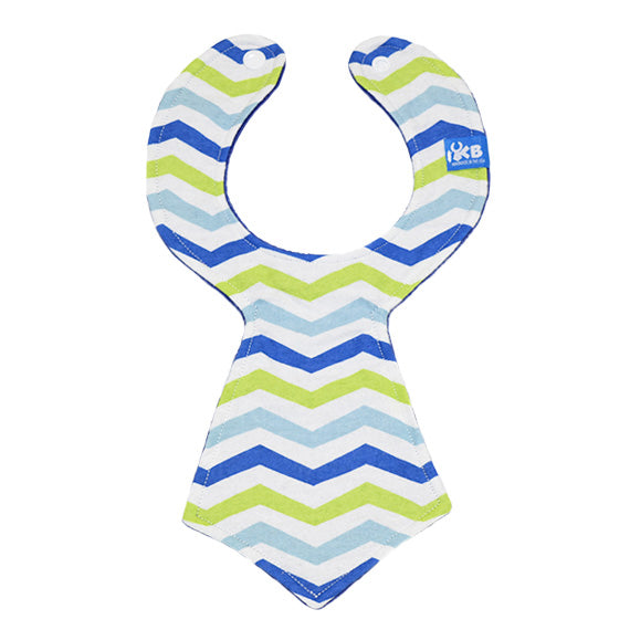Blue and Lime Chevron Baby Necktie Bib