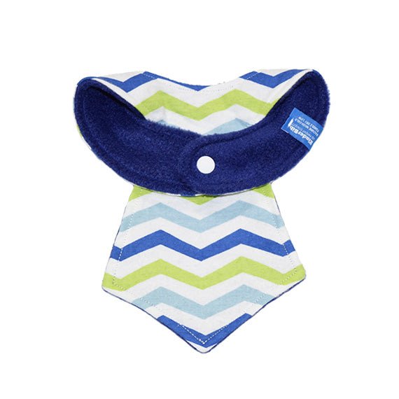 Kinderbib Baby Necktie Bib Blue Lime Chevron Back