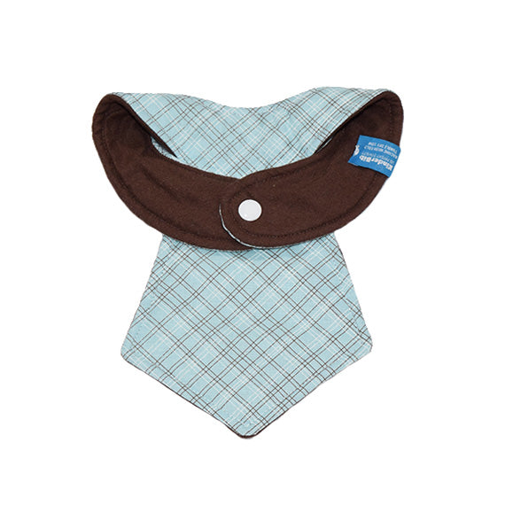 Kinderbib Baby Necktie Bib Blue Plaid Back