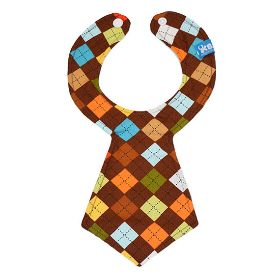 Kinderbib Baby Necktie Bib Brown Argyle