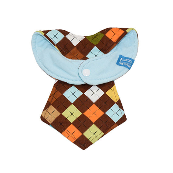 Kinderbib Baby Necktie Bib Brown Argyle Back