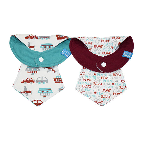 Kinderbib Baby Necktie Bibs Car Boat Plane Duo Back