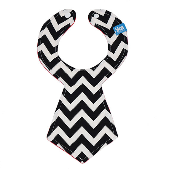 Kinderbib Baby Necktie Bib Colorblock Red Chevron