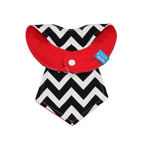 Kinderbib Baby Necktie Bib Colorblock Red Chevron Back