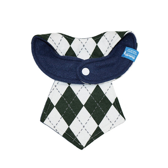 Kinderbib Baby Neck Tie Bib Dark Green Argyle Back
