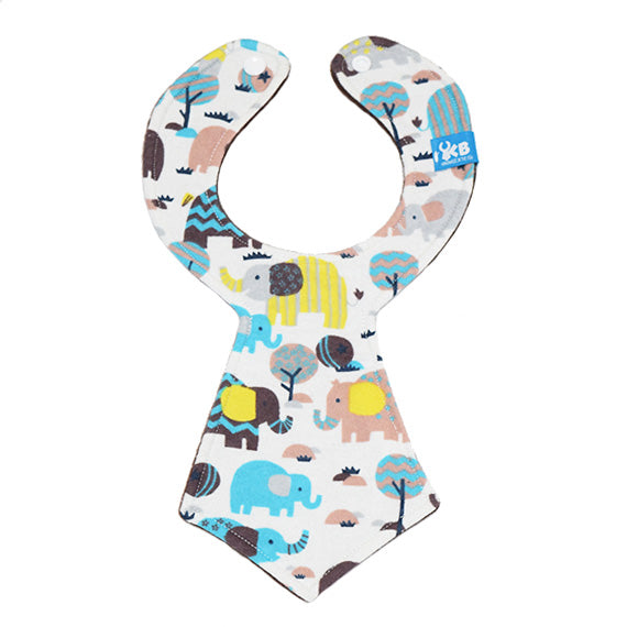 Kinderbib Baby Neck Tie Bib Elephant Safari