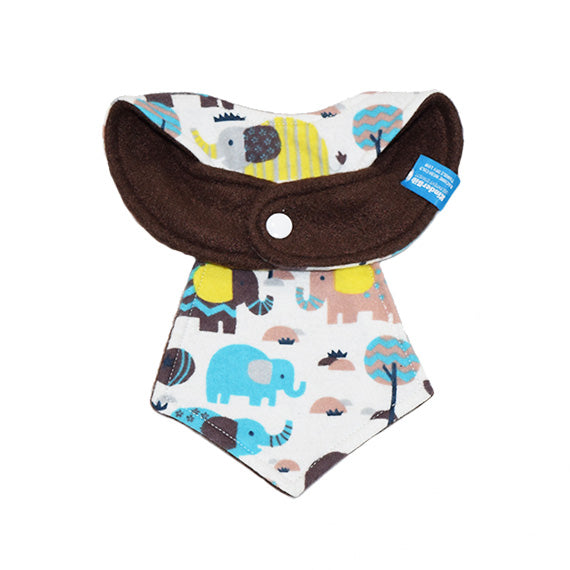 Kinderbib Baby Neck Tie Bib Elephant Safari Back