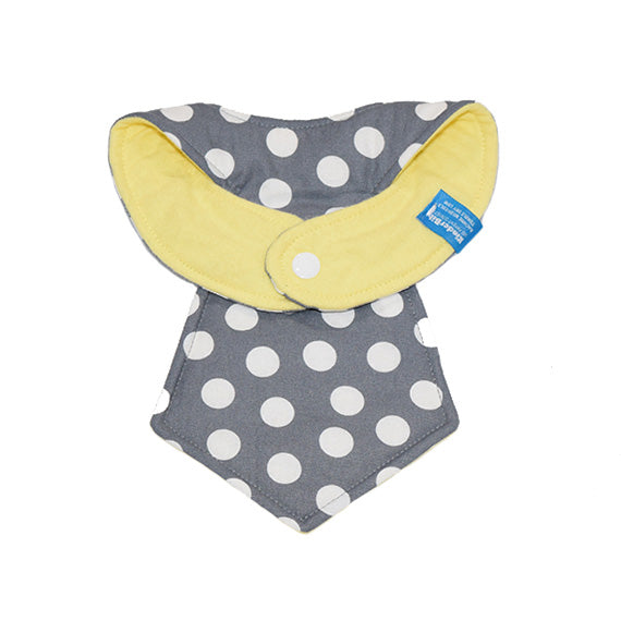 Kinderbib Baby Neck Tie Bib Gray Dot Back