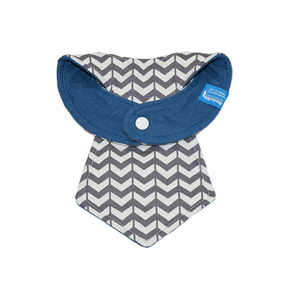 Kinderbib Baby Neck Tie Bib Gray White V Back