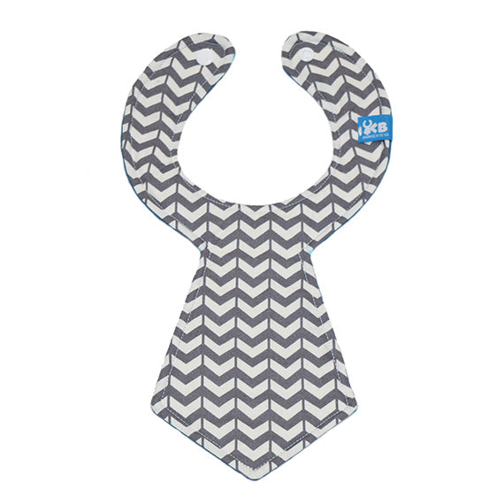 Kinderbib Baby Neck Tie Bib Gray White V