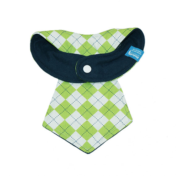 Kinderbib Baby Neck Tie Bib Green Argyle