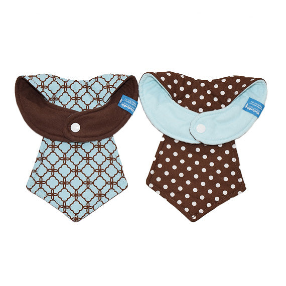 Kinderbib Baby Neck Tie Bibs Mint Chocolate Duo Back