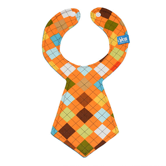 Orange Argyle Baby Necktie Bib