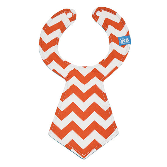 Orange Chevron Baby Necktie Bib