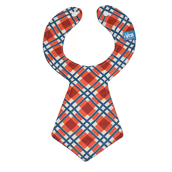 Orange Plaid Baby Necktie Bib