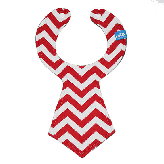 Red Chevron Baby Necktie Bib