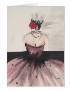 The Beautiful Flower / Belle Fleur Pink Ball Gown Single Card