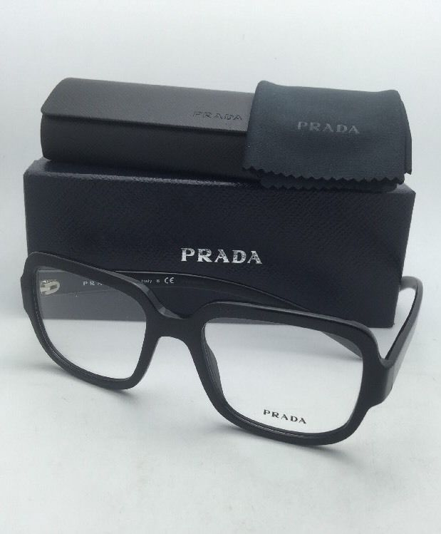 New PRADA Eyeglasses VPR 15R 1AB-1O1 53-19 140 Shiny Black on Matte Black Frames