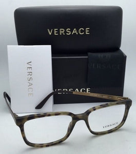 New VERSACE Rx-able Eyeglasses VE 3182 5078 55-17 Dark Green Havana Sand Frames