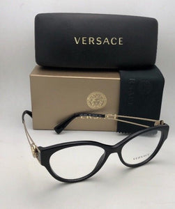 New VERSACE Rx-able Cat Eye Eyeglasses VE 3254 GB1 54-16 140 Black & Gold Frames