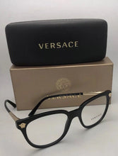 Load image into Gallery viewer, New VERSACE Rx-able Eyeglasses MOD.3242 GB1 54-18 140 Black & Medusa Gold Frame