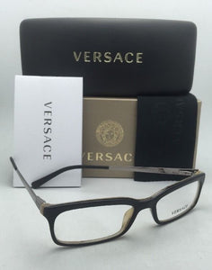 New VERSACE Rx-able Eyeglasses 3073 278 52-16 Black on Horn Frame