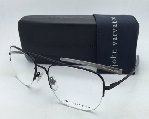 New JOHN VARVATOS Eyeglasses V115 54-19 Matte Black Semi-Rimless Aviator Frame