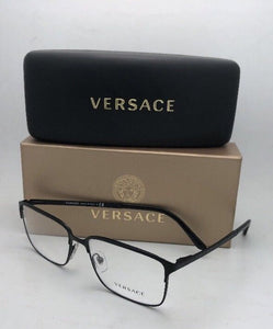 New VERSACE Eyeglasses 1232 1261 54-16 140 Matte Black Rectangular Frames