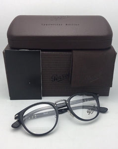 Typewriter Edition PERSOL Rx-able Eyeglasses 3107-V 95 49-22 Black-Silver Frames
