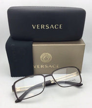 Load image into Gallery viewer, New VERSACE Eyeglasses 1236 1378 55-16 140 Matte Gold & Brown Rectangular Frames