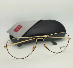 New RAY-BAN Aviator Rx-able Eyeglasses RB 6489 2946 58-14 140 Black & Gold Frame