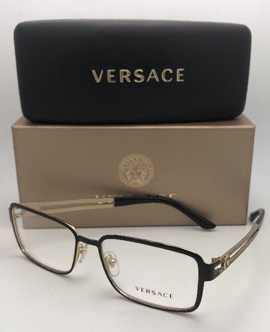 New VERSACE Eyeglasses 1236 1371 55-16 140 Shiny Black & Gold Rectangular Frame