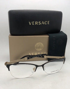 New VERSACE Rx-able Eyeglasses MOD 1228 1291 53-17 Black & Gold Cat Eye Semi Rimless