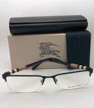 Load image into Gallery viewer, New BURBERRY Eyeglasses B 1282 1001 55-18 145 Black Semi Rimless w/ Plaid Design