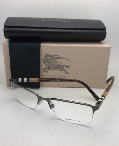 New BURBERRY Eyeglasses B 1282 1008 55-18 145 Brown & Tortoise Semi Rimless with Plaid Design