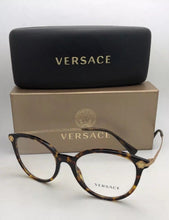 Load image into Gallery viewer, New VERSACE Eyeglasses MOD.3251-B 108 Tortoise & Gold Frame w/ Medusa-Crystals