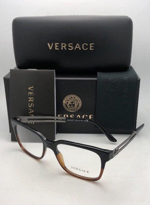 New VERSACE Rx-able Eyeglasses VE 3218 5177 53-17 140 Black & Brown Transp Frame