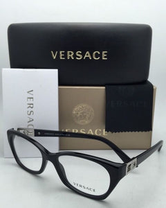 New VERSACE Rx-able Eyeglasses VE 3170-B GB1 Black & Silver Frames with Crystals