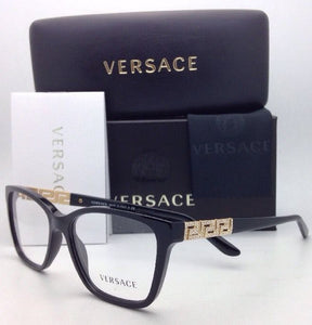 New VERSACE Eyeglasses VE 3192-B GB1 54-16 Black and Gold Frames with Crystals