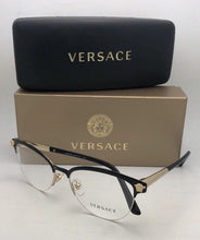 Load image into Gallery viewer, New VERSACE Eyeglasses 1235 1371 53-17 Black & Gold Cat Eye Semi Rimless Frames