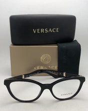 Load image into Gallery viewer, New VERSACE Rx-able Eyeglasses VE 3219-Q GB1 54-17 Black & Gold CatEye Frames