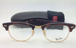 New RAY-BAN CLUBMASTER Rx-able Eyeglasses RB 5154 2372 49-21 Red Tortoise Frames