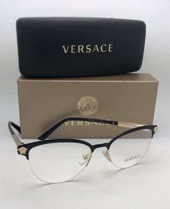 New VERSACE Eyeglasses 1235 1371 53-17 Black & Gold Cat Eye Semi Rimless Frames