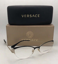 Load image into Gallery viewer, New VERSACE Eyeglasses 1239-B 1291 53-17 Black & Silver Cat Eye Frame w/Crystals