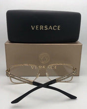 Load image into Gallery viewer, New VERSACE Eyeglasses 1236 1371 55-16 140 Shiny Black & Gold Rectangular Frame