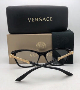 New VERSACE Rx-able Eyeglasses VE 3214 GB1 52-16 140 Black & Gold Cat Eye Frames