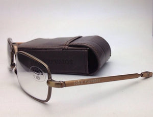 New Folding JOHN VARVATOS Eyeglasses V801 +1.00 Antique Gold Transitions Readers