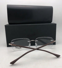 Load image into Gallery viewer, New PERSOL Rx-able Eyeglasses 2428-V 1021 54-17 140 Rimless Silver & Brown Frame