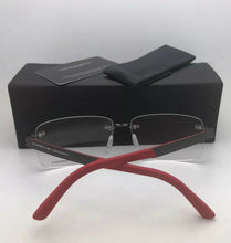 Load image into Gallery viewer, New PORSCHE DESIGN Eyeglasses P'8236 D 58-14 140 Rimless Titanium Gunmetal Red Carbon Fiber